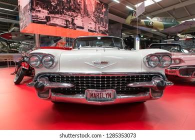 Sinsheim / Germany - 10 14 2019: luxury white Cadillac Eldorado/Cadillac Biarritz old vintage car displayed as part of exhibition in Technik Museum Sinsheim Germany, Europe