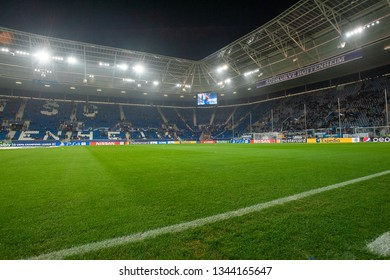 Sinsheim, Germany - November 27, 2018: Rhein-Neckar Arena - the stadium was site of the soccer for group match league championes TSG Hoffenheim - Shakhter.