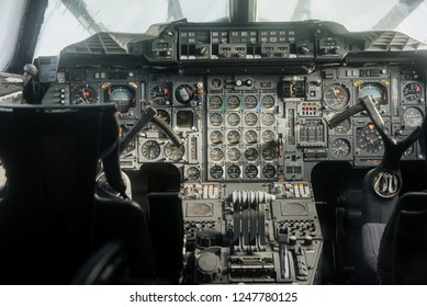 SINSHEIM, GERMANY - OCTOBER 16, 2018: Technik Museum. Front part from the inside. Old analog cockpit of the plane. Inside near pilot seats.
