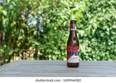 Sint Gillis Waas, 24 July 2019. Belgian beer. Hapkin beer. Hapkin is a strong blond beer of high fermentation, with natural secondary fermentation in the bottle