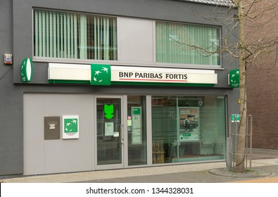 Sint Gillis Waas, Belgium-March 20, 2019, the front of a BNP Paribas Fortis Office in the village of Sint Gillis Waas in Belgium