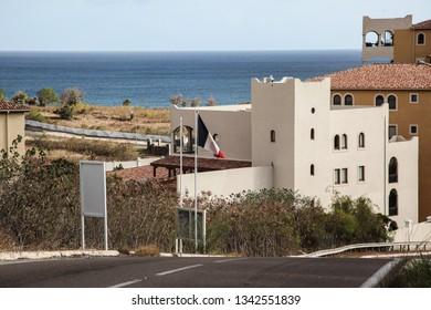 SINT MAARTEN - JULY 30, 2015: Border line between Dutch and French side Sint Maarten/ St.Martin island.