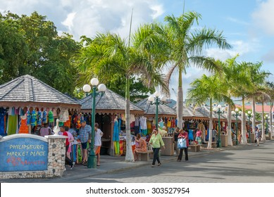 Sint Maarten, Philipsburg-June 3: Market Place on June 3, 2008. The island is a major center for tourism, duty free shopping and sailing regattas in the Caribbean.