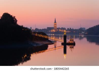 Sint-Amands at the river Schelde at sunrise, Sint-Amands, Flanders, Belgium