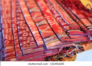 Sintang, West Kalimantan / Indonesia - May 23, 2013: Dayak tribe culture is weaving. For Dayak people, ikat woven is symbol of cultural expression and ritual inherited from generation to genera