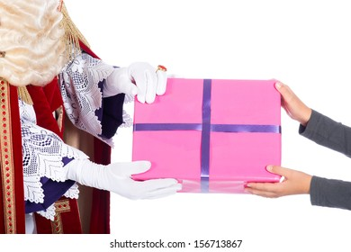 Sinterklaas giving a present to a child, on a white background