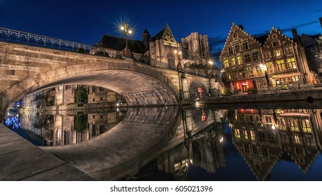 Sint-Michiels bridge and church, reflected in the Leie