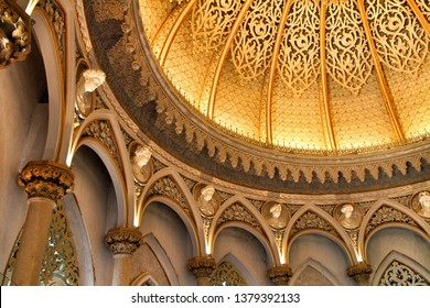 Sintra, Lisbon, Portugal- Beautiful and majestic vintage cupola of Monserrate palace in Sintra, Lisbon