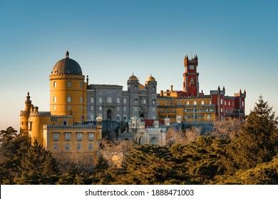Sintra, Lisbon, Portugal - January 6, 2021: National Palace of Pena, Sintra region, Lisbon, Portugal