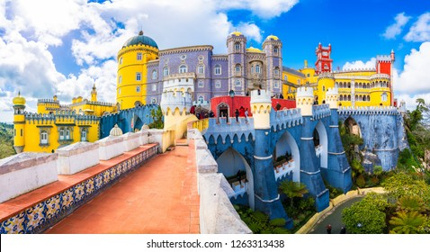 Sintra, Lisbon, Portugal - March 16, 2018: National Palace of  Pena, Sintra region, Lisbon, Portugal