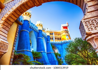 Sintra, Lisbon Region, Portugal - August 12, 2016: View of a facade of the National Palace of Pena, city of Sintra, Lisbon Region, Portugal