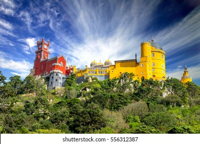 Sintra palace viewed from below, Portugal