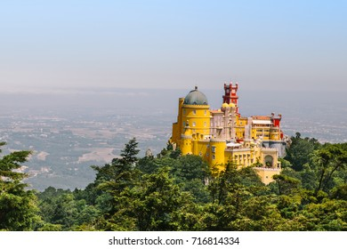 Sintra Pena Palace viewed from the top of the mountain