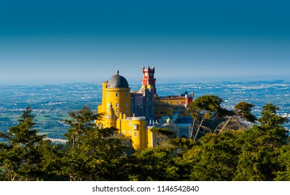 Sintra, Portugal - 04.21.2017: view of Pena Palace