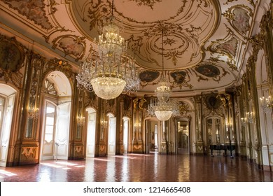 SINTRA, PORTUGAL - 08/03/2018: The interiors of the National Palace of Queluz in Sintra/Lisboa, Portugal