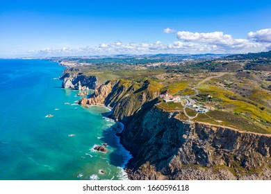 Sintra, Portugal. Aerial view of the Cabo da Roca (Cape Roca) - the westernmost point of Europe
