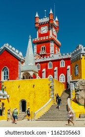 SINTRA, PORTUGAL - AUGUST 21, 2017: Tourists Visit Romanticist Castle Of Pena Palace Located In Sintra Mountains