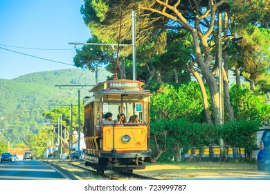 Sintra, Portugal - August 9, 2017: Tram 7 running from Sintra to Praia das Macas. The Sintra tramway, in Portuguese, Eletrico de Sintra, is a popular historic runway with summer races.