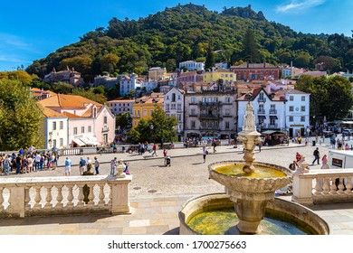 SINTRA, PORTUGAL - CIRCA SEPTEMBER, 2017: Historic center of the city of Sintra, in Portugal, seen from the balcony of the National Palace of Sintra, former residence of the royal family