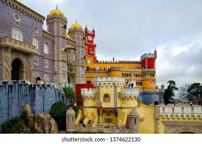 Sintra, Portugal - December 15, 2018: Beautiful architecture of National Palace of Pena. Famous landmark in Sintra, Portugal.