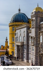 SINTRA, PORTUGAL - DECEMBER 27, 2015: Pena National Palace (Palacio Nacional da Pena) - Romanticist palace in Sao Pedro de Penaferrim - UNESCO World Heritage Site and one of Seven Wonders of Portugal.