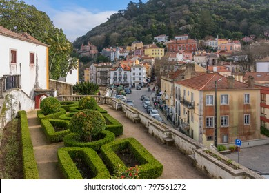 Sintra, Portugal - Jan. 2, 2018: Park of the Palace of Sintra is located in the town of Sintra,  in the Lisbon District of Portugal. It is the best-preserved medieval royal residence in Portugal.