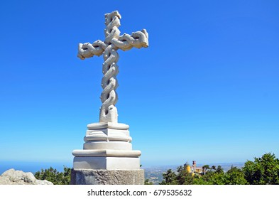 SINTRA, PORTUGAL - JULY 1, 2017: Cruz Alta is a big cross that stands on the highest place of the Sintra hills in the Park of Pena.