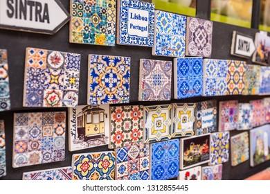 SINTRA, PORTUGAL - JULY 18, 2015: Azulejo tiles for sale in Sintra, Portugal