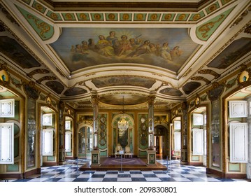 SINTRA, PORTUGAL - JULY 6: Symmetrical composition of rich decorated rooms in the Queluz National Palace , on July 6, 2014 in Sintra, Portugal.