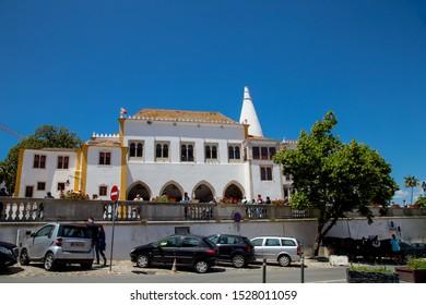 Sintra, Portugal, June 10, 2019. View of the Palácio Nacional de Sintra Portugal