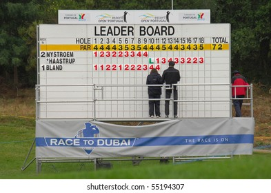 SINTRA, PORTUGAL - JUNE 10: Image of the leader board, in the 1st day game at the European Tour - Estoril Open de Portugal 2010, Penha Longa GC, June 10, 2010, Sintra, Portugal.