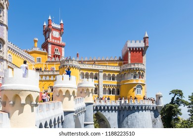 SINTRA, PORTUGAL - JUNE 15, 2017: Tourists visiting the da Pena Palace in Sintra. One of the most popular monuments around Lisbon, visited daily by thousands of travelers.
