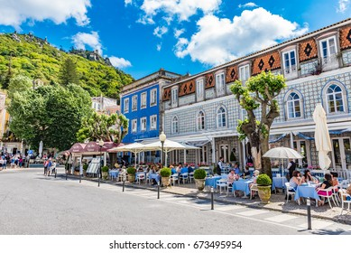 SINTRA, PORTUGAL - JUNE 3, 2016: Townscape of Sintra in Portugal. Sintra is known for its many 19th-century Romantic architectural monuments.