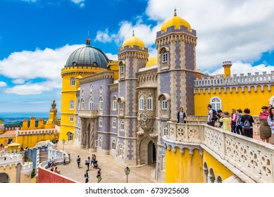 SINTRA, PORTUGAL - JUNE 3, 2016: Pena Palace in the Cultural Landscape of Sintra. The Cultural Landscape of Sintra is a UNESCO World Heritage Site.