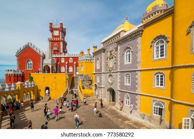 Sintra, Portugal - June 6, 2016: Pena Palace in the Cultural Landscape of Sintra. The Cultural Landscape of Sintra is a UNESCO World Heritage Site.
