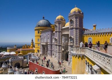 SINTRA, PORTUGAL - May 22: The Pena National Palace in Sintra, Portugal on May 22, 2016. The palace is a UNESCO World Heritage Site and one of the Seven Wonders of Portugal.