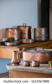 Sintra, Portugal - May 23, 2017: Selective focus of old copper objects in the kitchens of the Pena National Palace