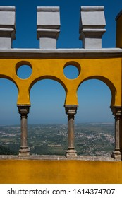 Sintra, Portugal - May 23, 2017: Detail of a wall with arches in the Pena National Palace in the district of Sao Pedro