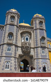 Sintra, Portugal - May 23, 2017: Perspective view of one of the access doors to the Pena Palace built on a hill in the district of Sao Pedro