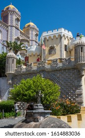 Sintra, Portugal - May 23, 2017: View of one of the access entrances with the Pena Palace built on a hill in the Sao Pedro neighborhood