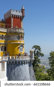 SINTRA, PORTUGAL - MAY 23, 2017: High towers and walls overlooking the nearby hills at The Pena National Palace