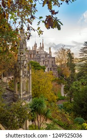 SINTRA, PORTUGAL - NOVEMBER 19, 2018: Quinta da Regaleira is an estate located near the historic center of Sintra. It is classified as a World Heritage Site by UNESCO