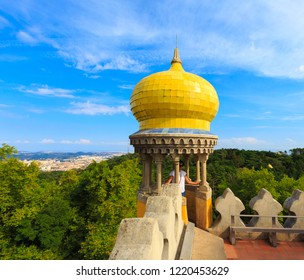 SINTRA, PORTUGAL - OCTOBER 12, 2018: Tourist in the Pena Palace, famous landmark in a summer morning with blue sky in the Romanticist castle .