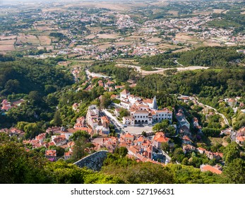 SINTRA, PORTUGAL - The Palace of Sintra viewed from the above.