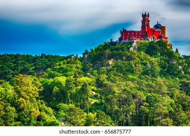 Sintra, Portugal: Pena Palace, Palacio da Pena, romanticist summer residence of the monarchs of Portugal, located in Sao Pedro de Panaferrim next to Lisbon