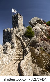 SINTRA, PORTUGAL - SEPTEMBER 28, 2017. Scenic view over Moorish Castle in Sintra.