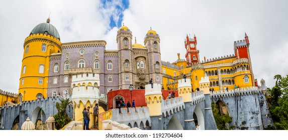 Sintra, Portugal-05.17.2018: Palace of Pena in Sintra. Lisbon, Portugal. Famous landmark. Summer morning landscape with blue sky.