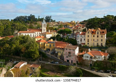Sintra,Portugal-12 18 2014:Sintra is a resort town in the foothills of Portugal's Sintra Mountains, near the capital, Lisbon.Sintra is a major tourist destination in Portugal.