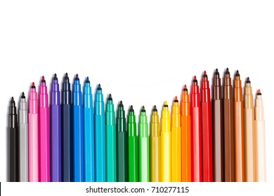 Sinuous gradient from open felt tip pens. A bright picture on the theme of drawing, education, school, creativity