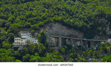 The sinuous road along the Amalfi coast in southern Italy
